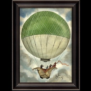 20W/27H Framed Print - Green & White Balloon - Kolene Spicher