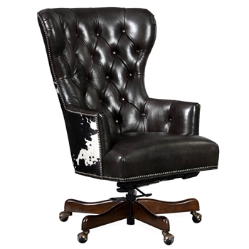 Armchair Wingback Katherine Swivel Desk 27W/33D/44H Black & White Hair on Hide Back