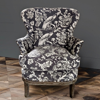 Armchair - Bird Toile Graphite 30W/30D/39H