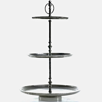 Tray Stand 3tier Etagere Penelope 17x28H Aluminium