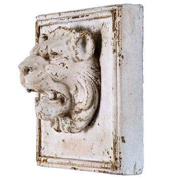 12W/12H/7IN Dept Lion Plaque Antiq White