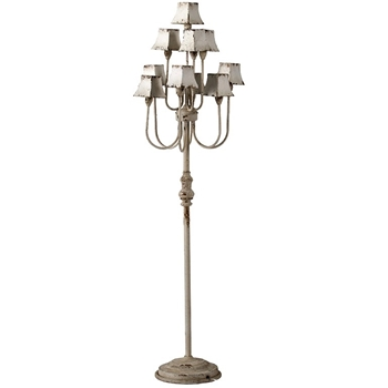 Lamp Floor - Candelabra 10 Light 16W/63H Vintage White Paint