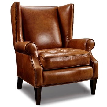 Armchair Wingback - George Cognac Leather 34W/37D/41H