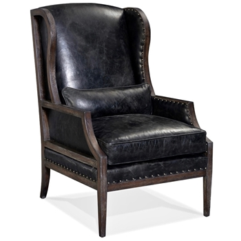 Armchair Wingback Laurel Charcoal Leather 28W/35D/37H