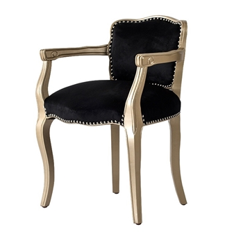Dining & Accent Chair - French Armchair Black Velvet Champagne Pearl Wood 23W/21D/30H
