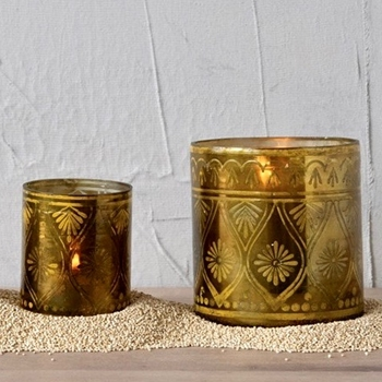 Votive - Gold Etched 2 Sizes 3in & 4in