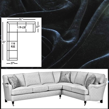 Sectional Julia Black Velvet 115W/91L/37D/35H