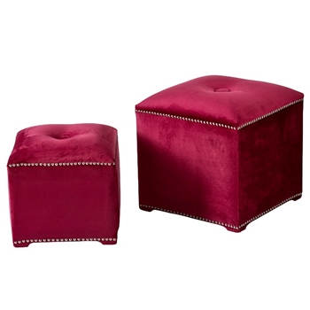 Ottoman - Fuchsia Pink Nest of 2 19IN/16IN