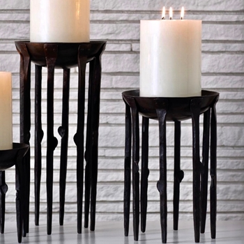 Candle Holder - Bothwell MEDIUM 9W/14H Hand Forged Blackened Iron